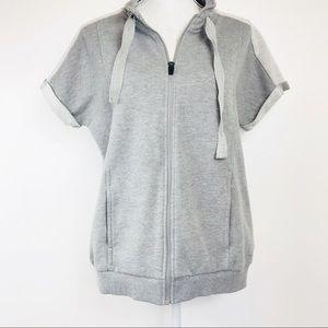 Fabletics Terrycloth Short Sleeve Sweatshirt L